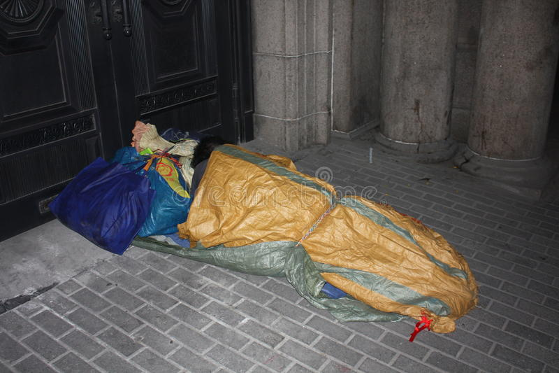 Obdachloser auf Shanghai-Straße #7 stockbilder