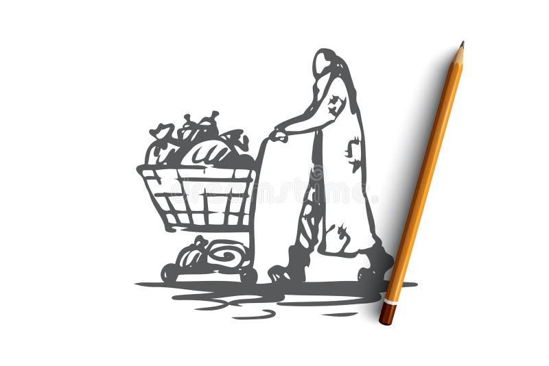 Obdachloser, Bettler, arm, schmutzig, Hilfskonzept Hand gezeichneter lokalisierter Vektor stock abbildung