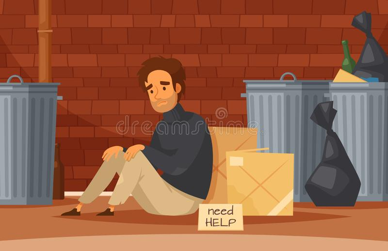 Obdachloser Karikatur-Zusammensetzungs- vektor abbildung