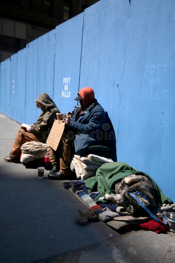 Obdachloser in Manhattan stockbilder