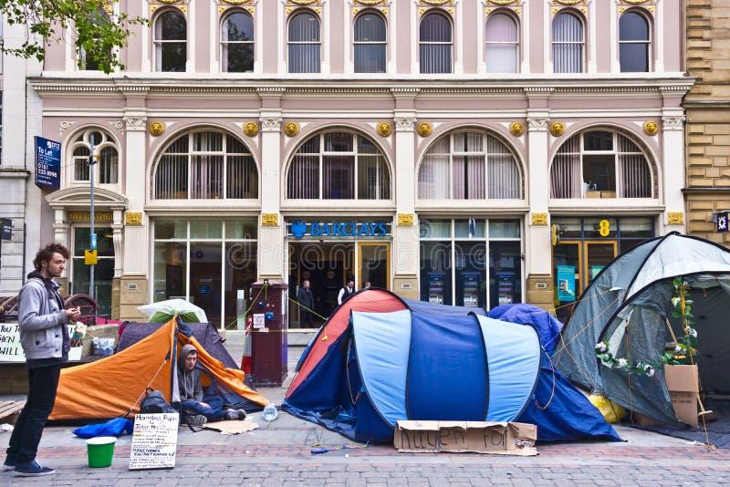 Obdachloser Protest in Manchester, Großbritannien lizenzfreies stockbild