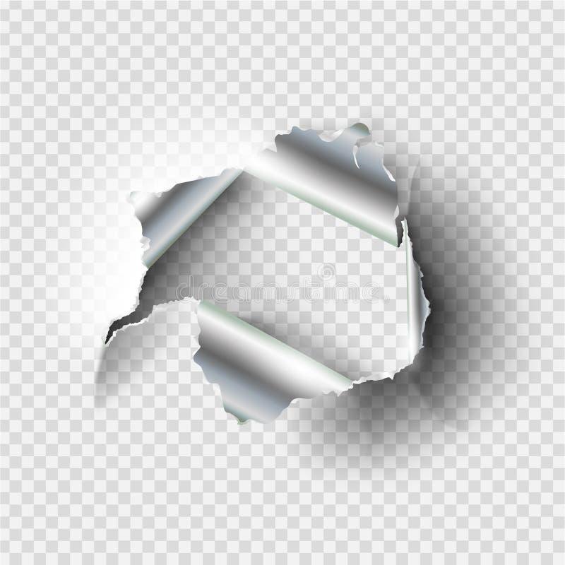 Obdarta dziura drzejąca w rozdzierającym metalu ilustracji