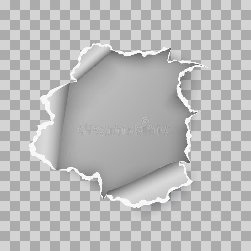 Obdarta dziura drzejąca w rozdzierającym prześcieradle papier Wektorowa ilustracja odizolowywaj?ca na przejrzystym tle ilustracja wektor