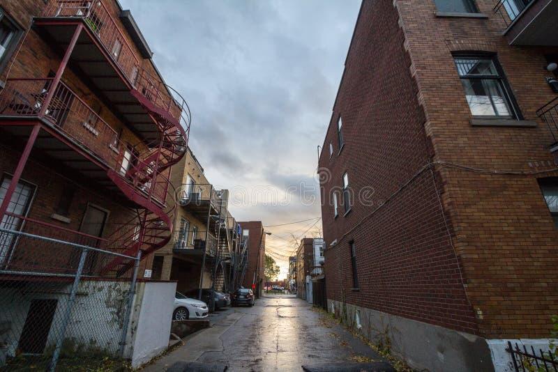 Obdrapana typowa północnoamerykańska mieszkaniowa ulica w jesieni w Montreal, Quebec zdjęcia royalty free