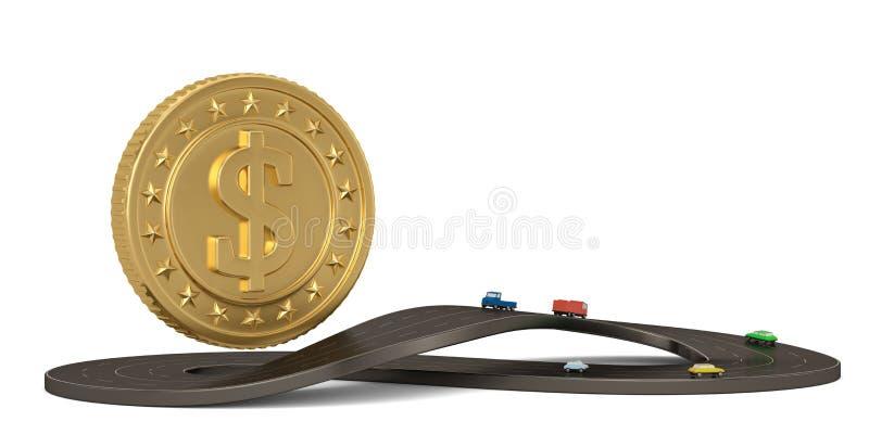 Obegränsad symbolformväg och guld- mynt som isoleras på vit bakgrund illustration 3d stock illustrationer