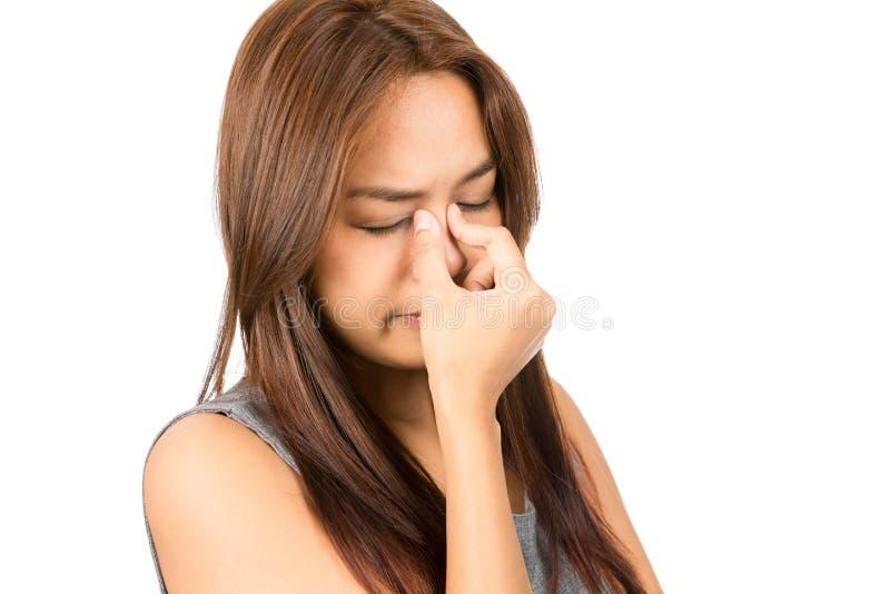 Obehag för kvinna för bihålablodstockninghuvudvärk asiatiskt arkivfoto