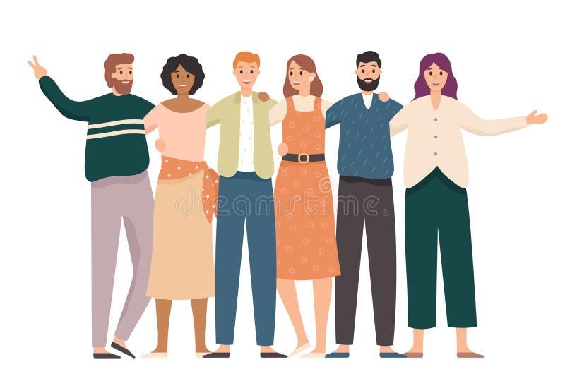 Obejmowanie przyjaciół grupowy portret Szczęśliwi ucznie, szkolni nastolatków przyjaciele stoją wpólnie i przyjaźń wektor royalty ilustracja