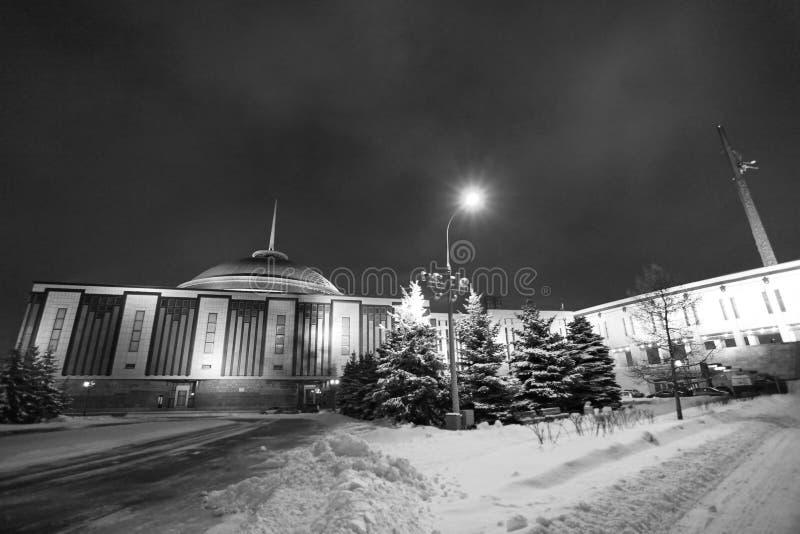 Obelisc di vittoria della collina dell'arco, Mosca di notte fotografia stock libera da diritti