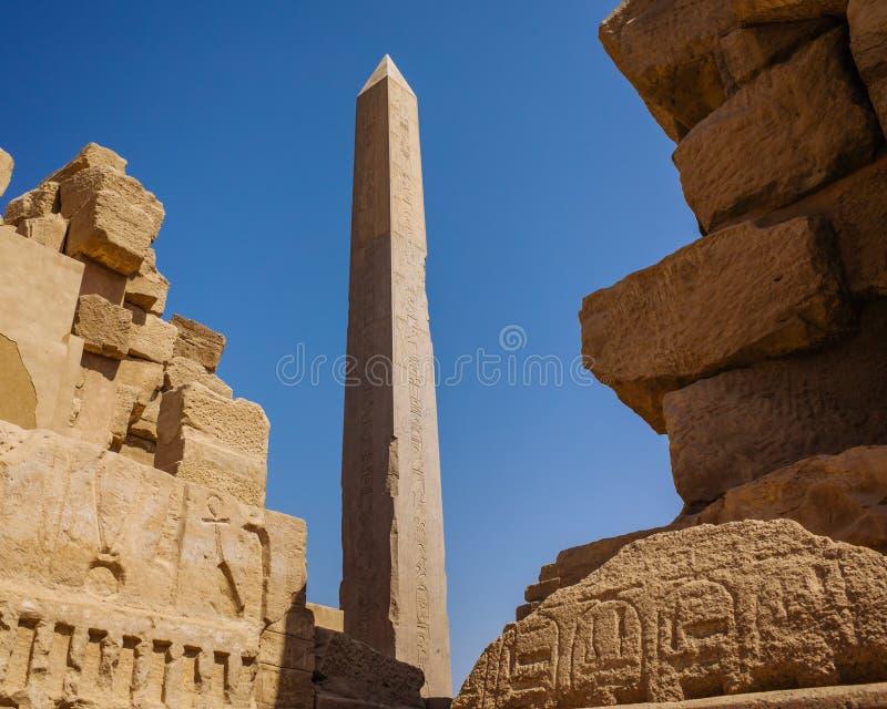Obelisco de Hatshepsut no templo de Karnak imagem de stock