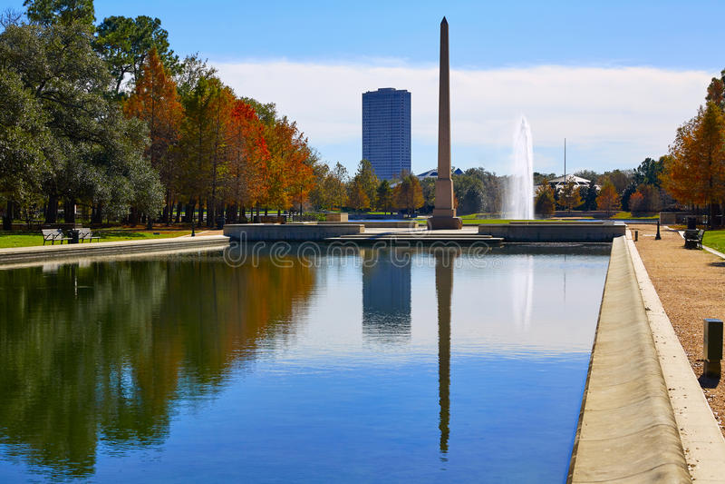 Obelisco del memoriale del pioniere del parco di Houston Hermann fotografie stock