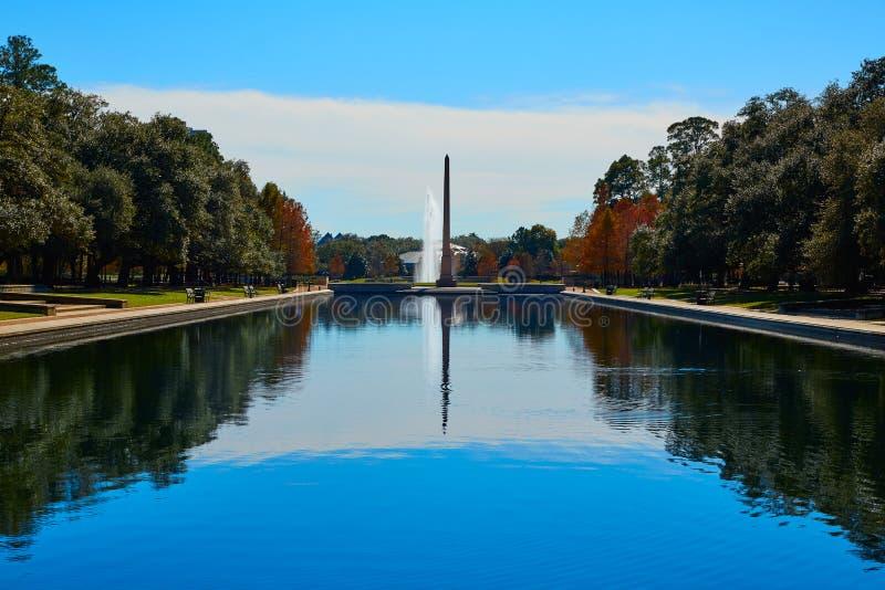 Obelisco do memorial do pioneiro do parque de Houston Hermann imagem de stock royalty free