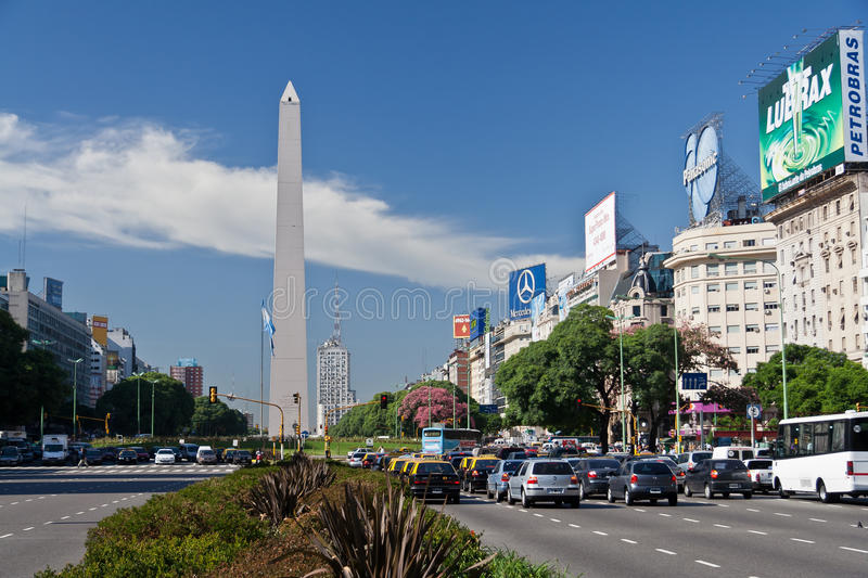 Obelisk and 9 de Julio Avenue in Buenos Aires royalty free stock photography