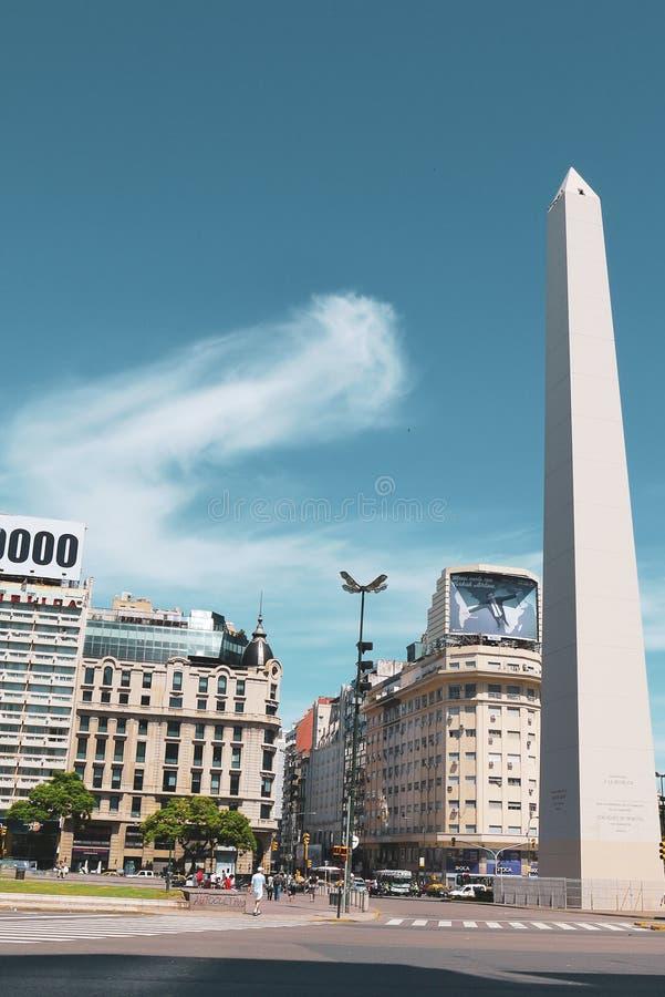 Obelisk av Buenos Aires i Argentina arkivbild