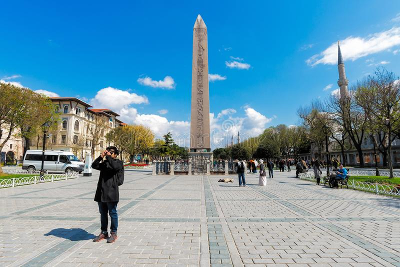 Obelisk av Theodosius Egyptian Obelisk den near blåa moskén royaltyfria bilder