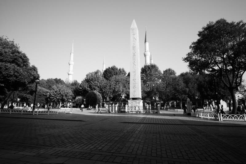 Obelisk av Theodosius (egyptisk obelisk) i Istanbul, Turkiet royaltyfri bild