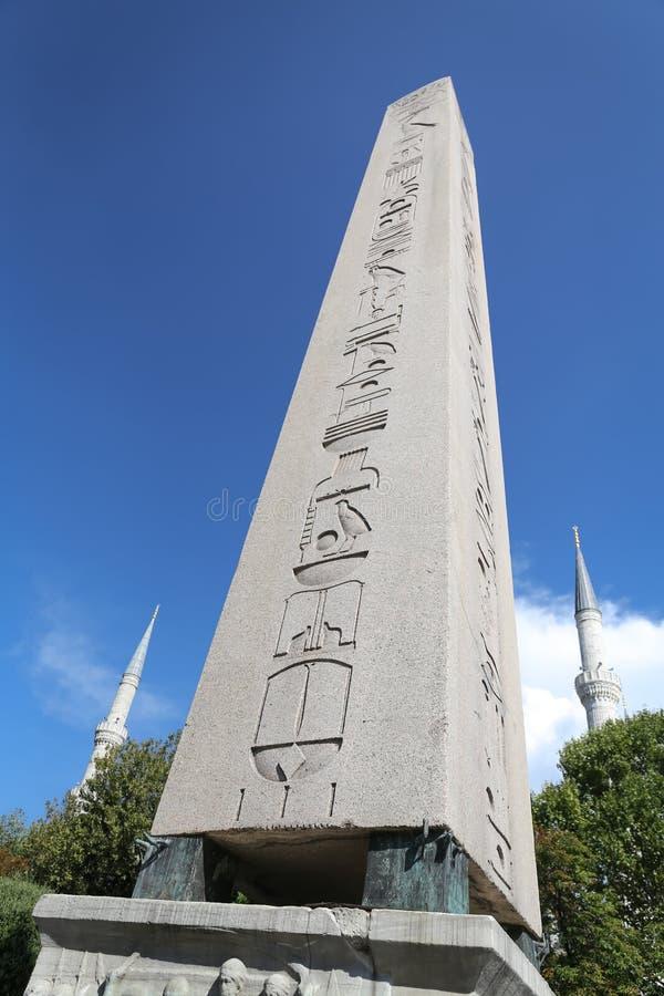 Obelisk av Theodosius i den Istanbul staden fotografering för bildbyråer