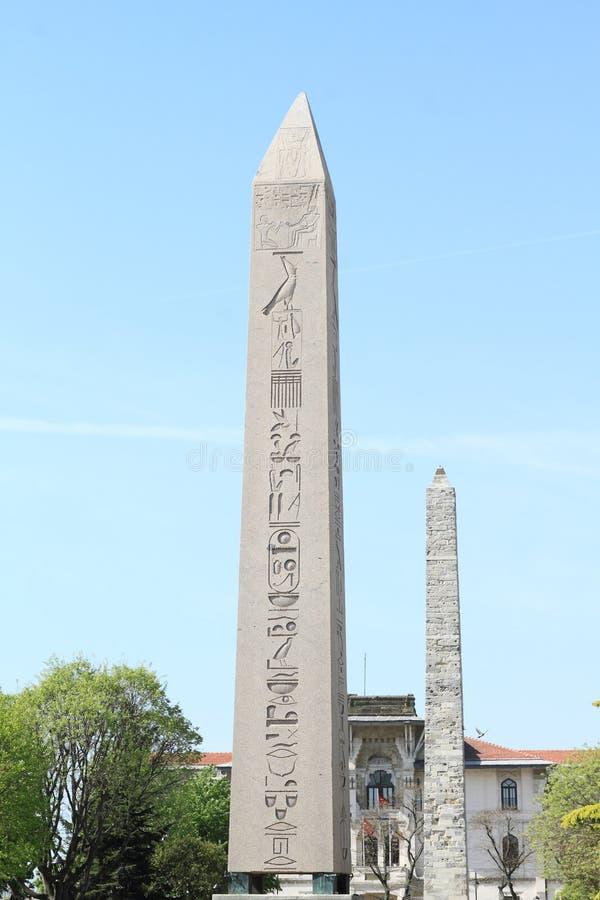 Obelisk av Theodosius och den Walled obelisken arkivbilder