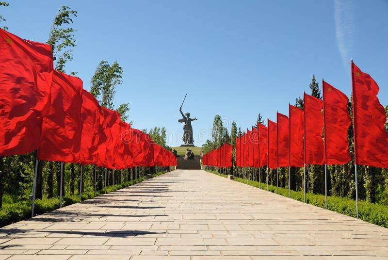 Obelisk commemorativo della seconda guerra mondiale su Mamayev Kurgan immagini stock libere da diritti