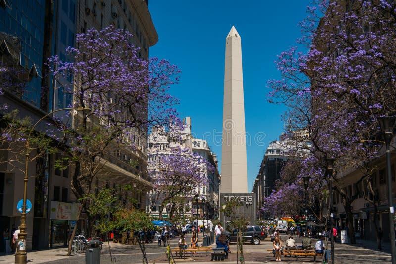 The Obelisk (El Obelisco). BUENOS AIRES, ARGENTINA - 02 DEC: The Obelisk (El Obelisco), the most recognized landmark in the capital on Dec 02, 2015 in Buenos stock photos
