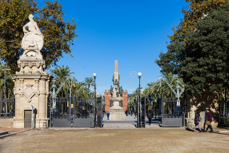 Obelisk at the entrance to the park de la Ciutadella. Barcelona. Barcelona, Spain - November 03, 2018:  Obelisk at the entrance to the park de la Ciutadella stock image