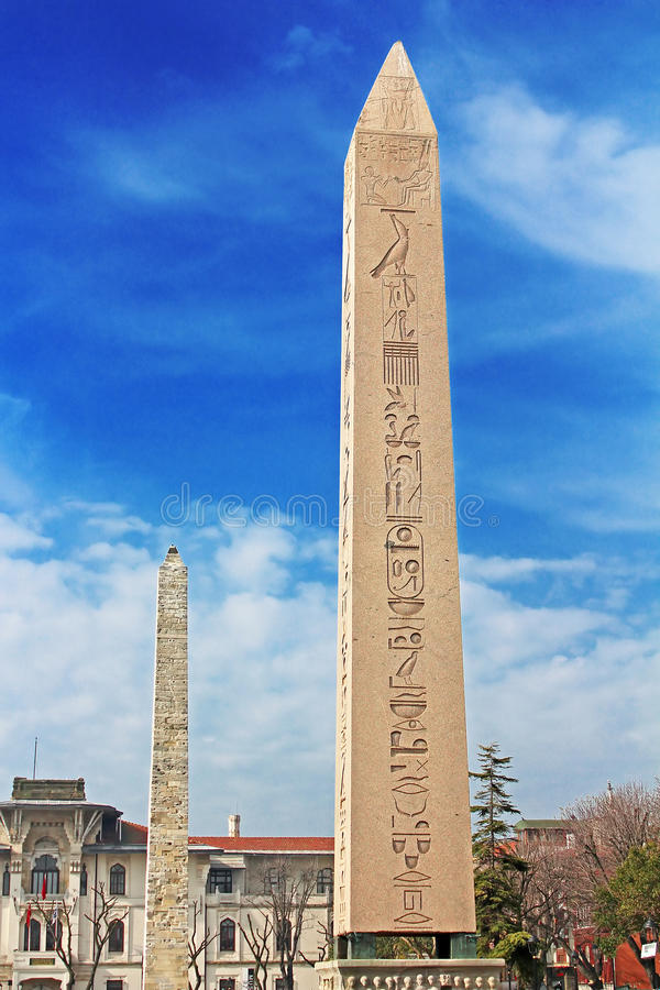 Obelisk at hippodrome in Istanbul, Turkey stock photos