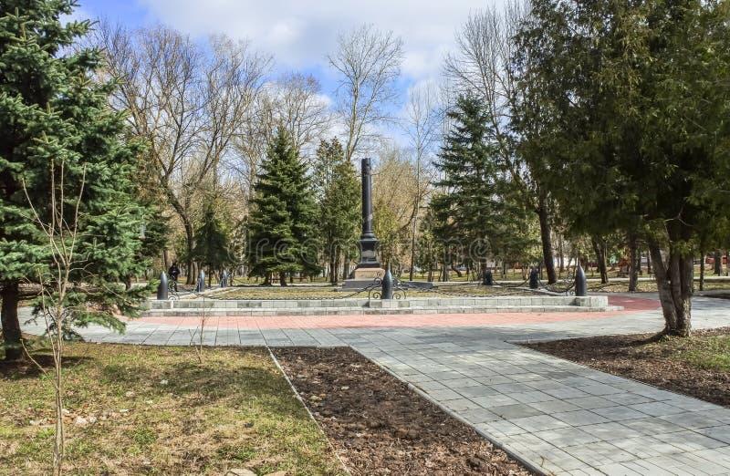 Obelisk op het graf van Vasilij Gracinskij, dat eerste Sovjet militaire Commissar van de stad van Rzhev was royalty-vrije stock afbeeldingen