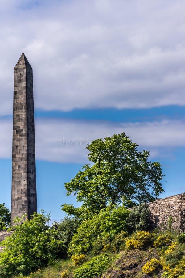 Obelisk på den gamla Calton arresten, Edinburg, Skottland, UK arkivbild