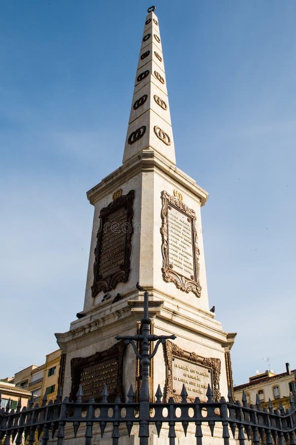 Obelisk plaza de la Merced, Malaga (spain) stock photos