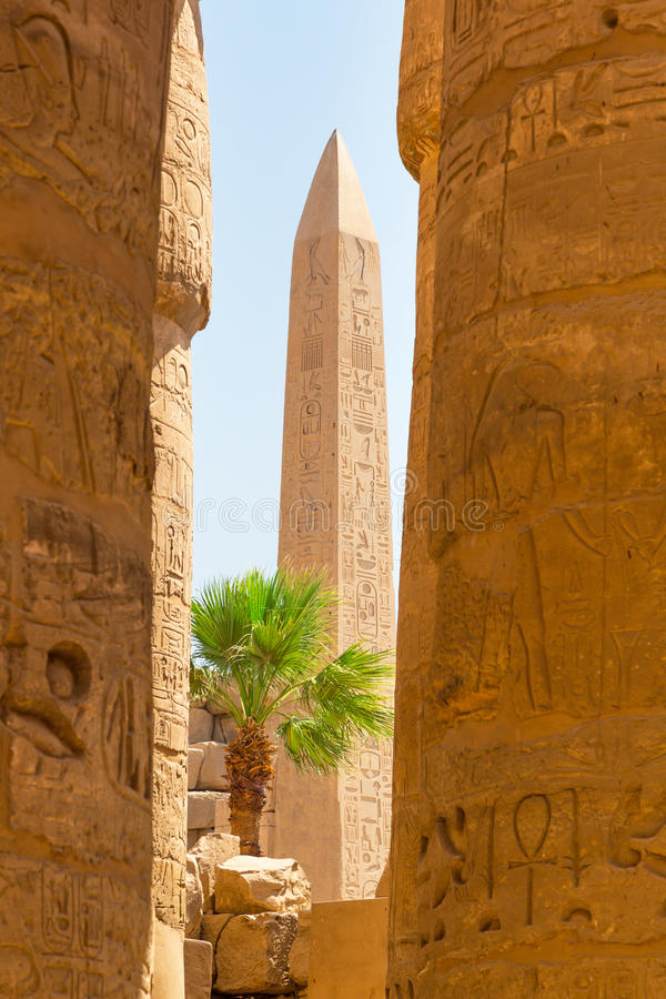 Obelisk of Queen Hapshetsut in Karnak royalty free stock images