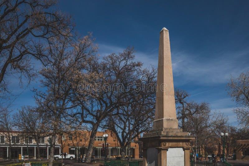 Obelisk in Santa Fe Plaza stock photos