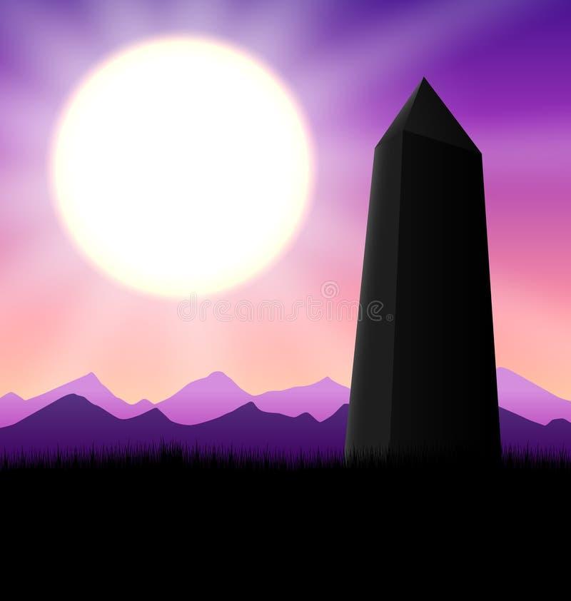 Obelisk Sunset stock illustration