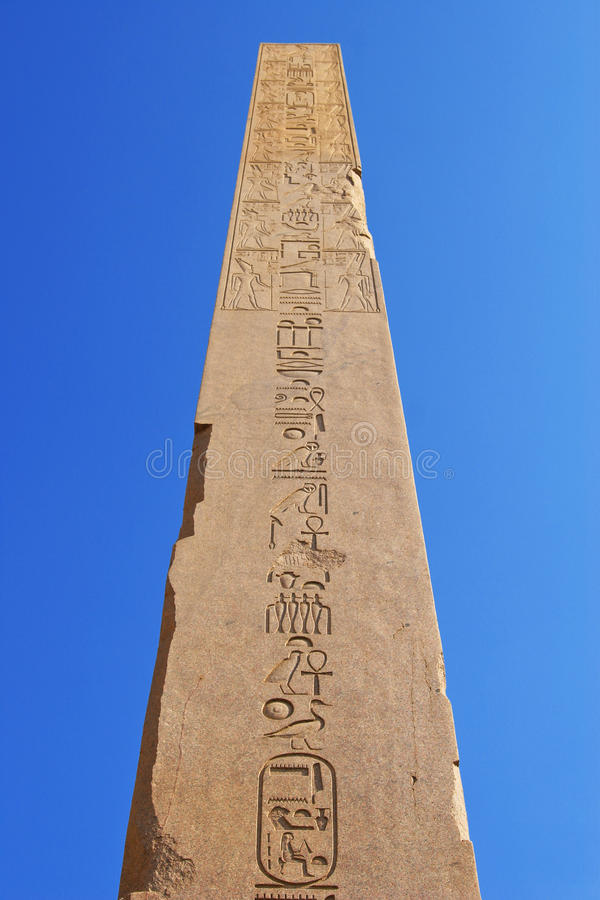 Obelisk, Tempel Karnak (Egypte, Afrika) stock foto's