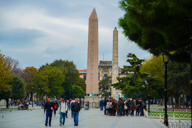 The Obelisk of Theodosius, an ancient Egyptian obelisk in the Hippodrome of Constantinople. SultanAhmet Square. Istanbul, Turkey stock image