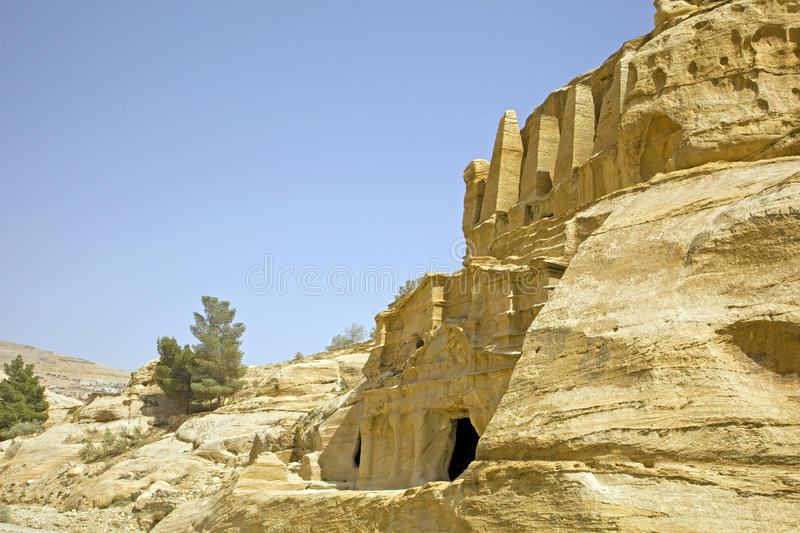Obelisk Tomb & the Triclinium, Petra, Jordan. royalty free stock photography