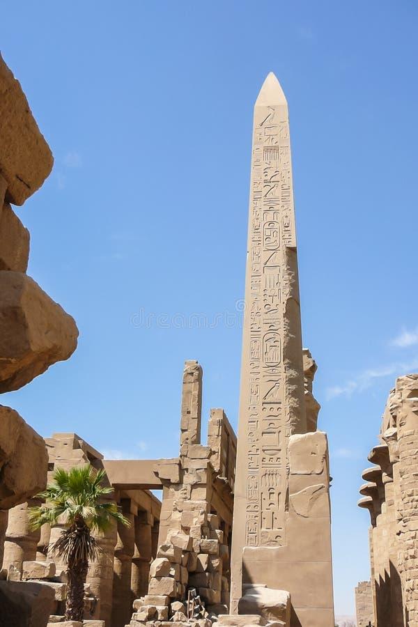 Obelisk wśrodku świątyni Luxor obraz stock