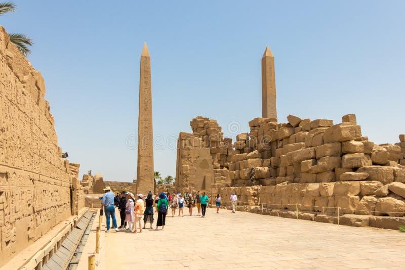 Obelisken in Amun-Tempel, Karnak, Luxor stock foto's