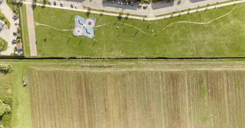 Obenliegende von der Luftansicht des Spielplatzbereichs lizenzfreie stockbilder