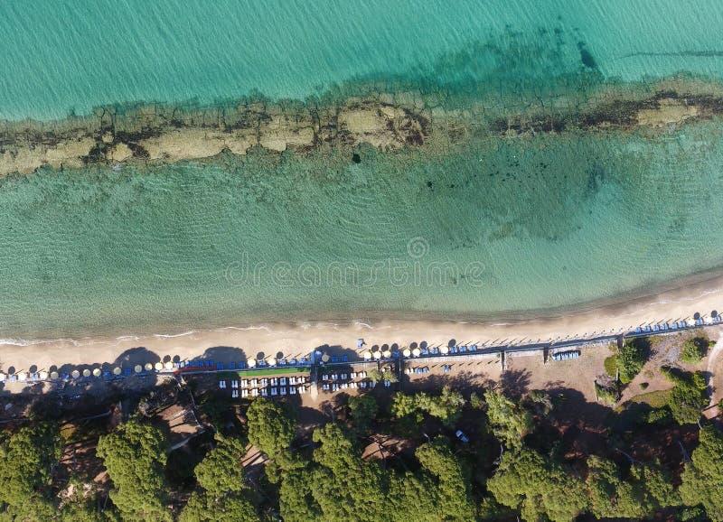 Obenliegender Panoramablick von Torre Mozza, toskanischer Strand, Italien lizenzfreies stockbild