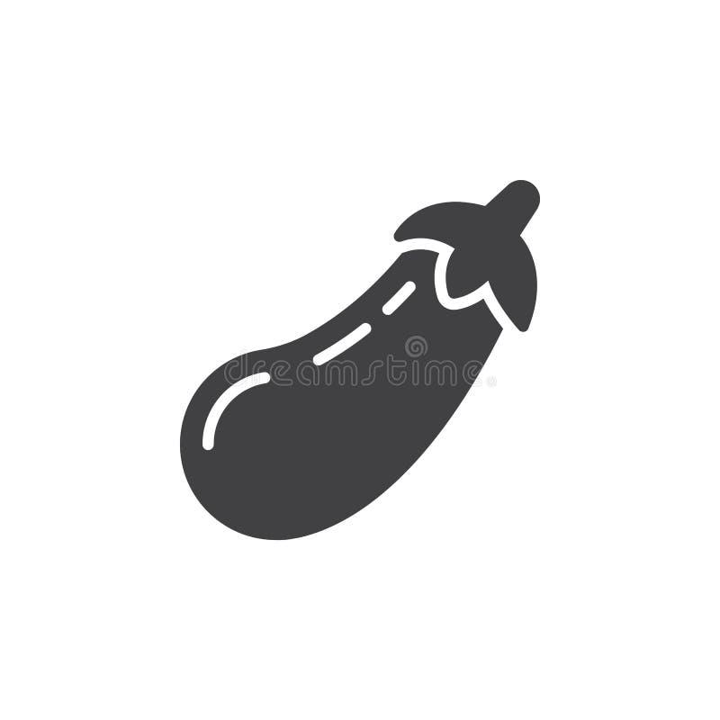 Oberżyna, aubergine ikony wektor, wypełniający mieszkanie znak, stały piktogram odizolowywający na bielu ilustracja wektor