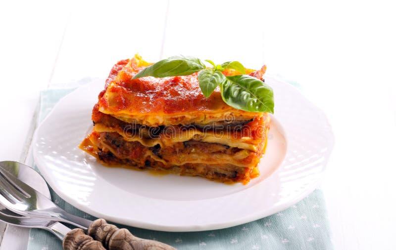 Oberżyny i zucchini lasagna plasterek obrazy royalty free