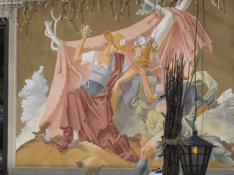 Oberammergau pintou a casa, Baviera fotos de stock