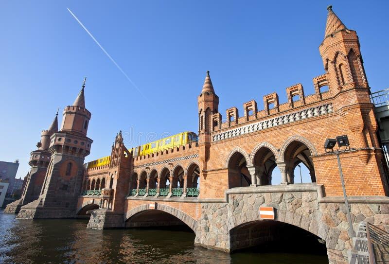 Oberbaumbruecke bridge with passing subway train royalty free stock image