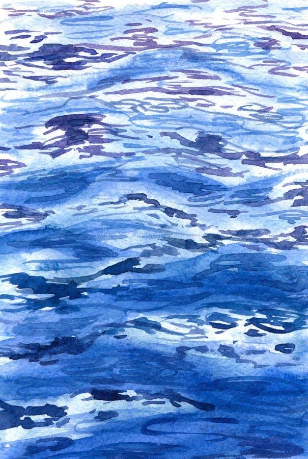 Oberflächenhintergrund des blauen Wassers des Aquarells lizenzfreies stockfoto