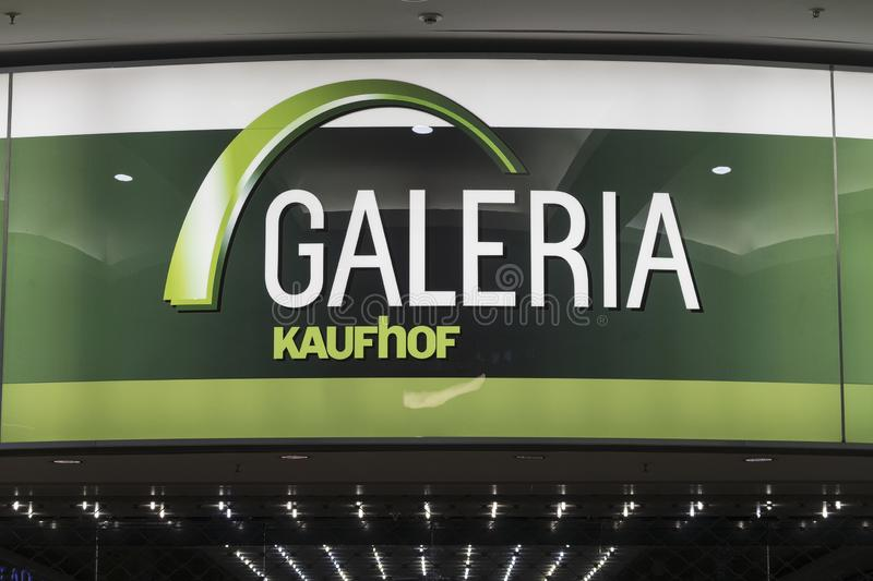Name plate of the galeria Kaufhof store in Centre O a big and popular shopping mall in. Oberhausen, Germany - december 8, 2018; Name plate of the galeria Kaufhof royalty free stock photography