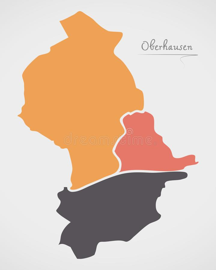 Oberhausen Map with boroughs and modern round shapes. Illustration stock illustration