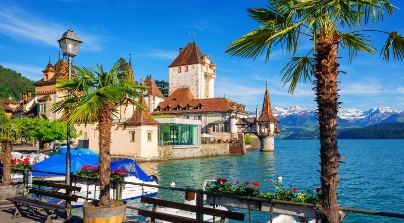 Oberhofen castle on Lake Thun, Switzerland stock photography