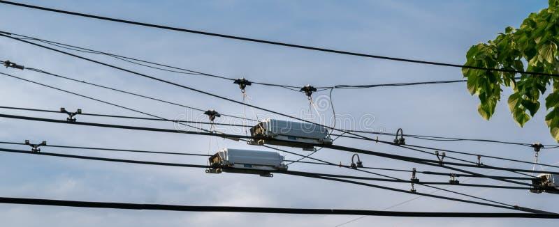 Oberleitungsbusenergiedraht-Schalterkastenteiler benutzt, um Richtung zu ändern stockbild