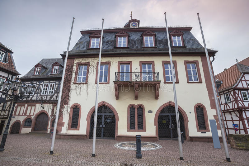 Obermarkt townhall gelnhausen germany. The obermarkt townhall gelnhausen germany stock photo