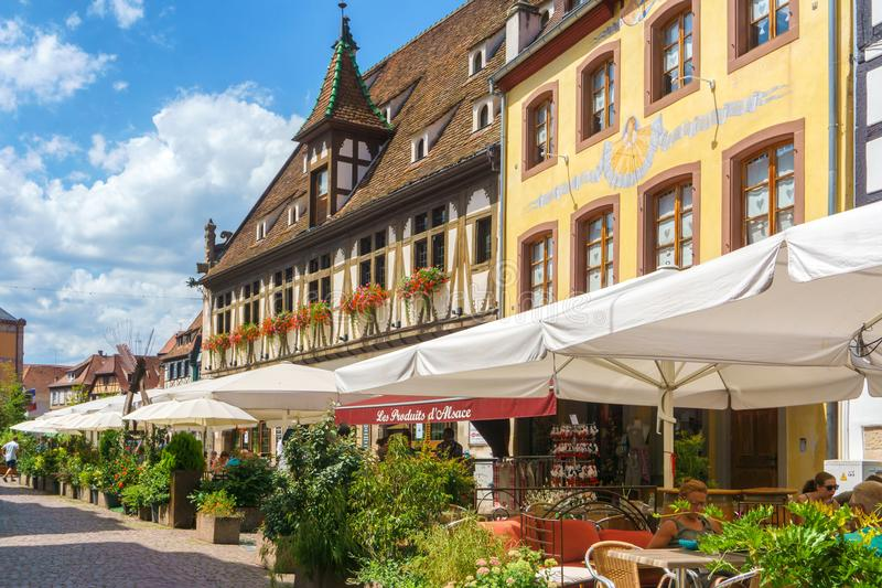Obernai, France - July 17, 2017: Cafes and restaurant in Petite-France in Strasbourg Traditional colorful houses in La Petite Fran stock photos