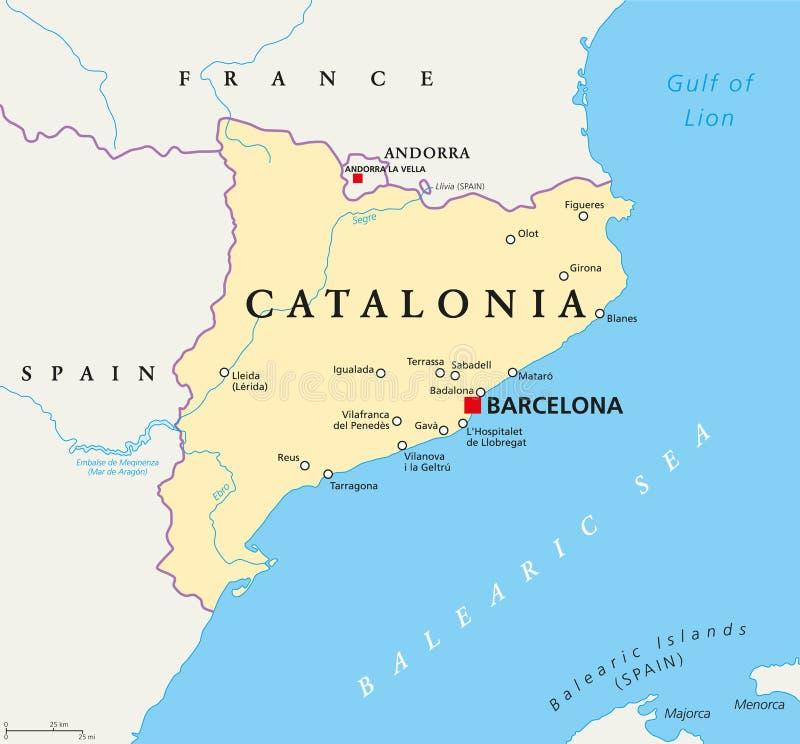 Oberoende Catalonia politisk översikt vektor illustrationer